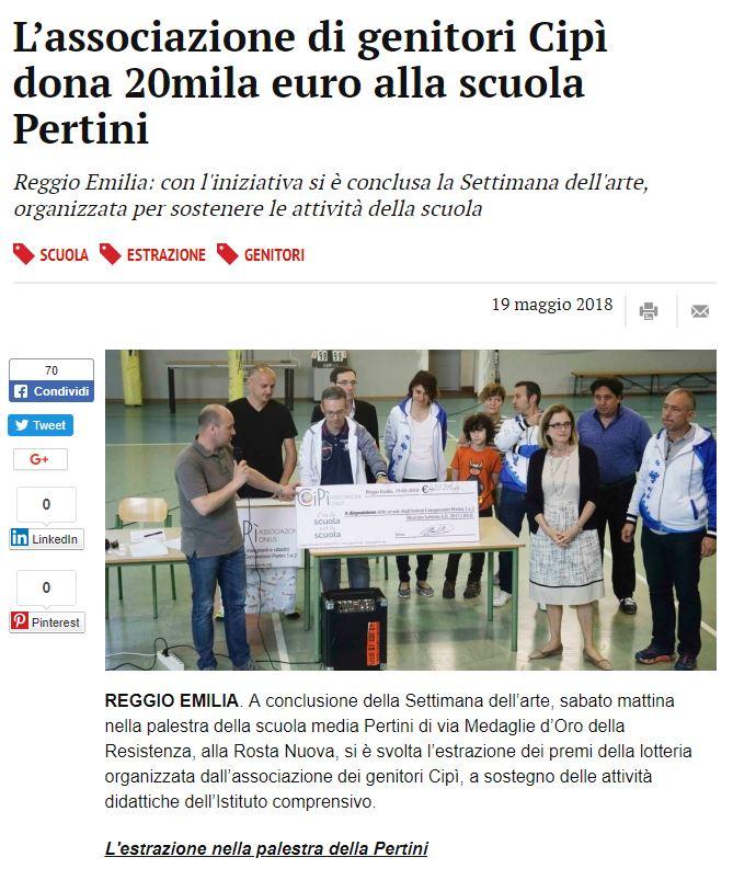 L'associazione di genitori Cipì dona 20mila euro alla scuola Pertini
