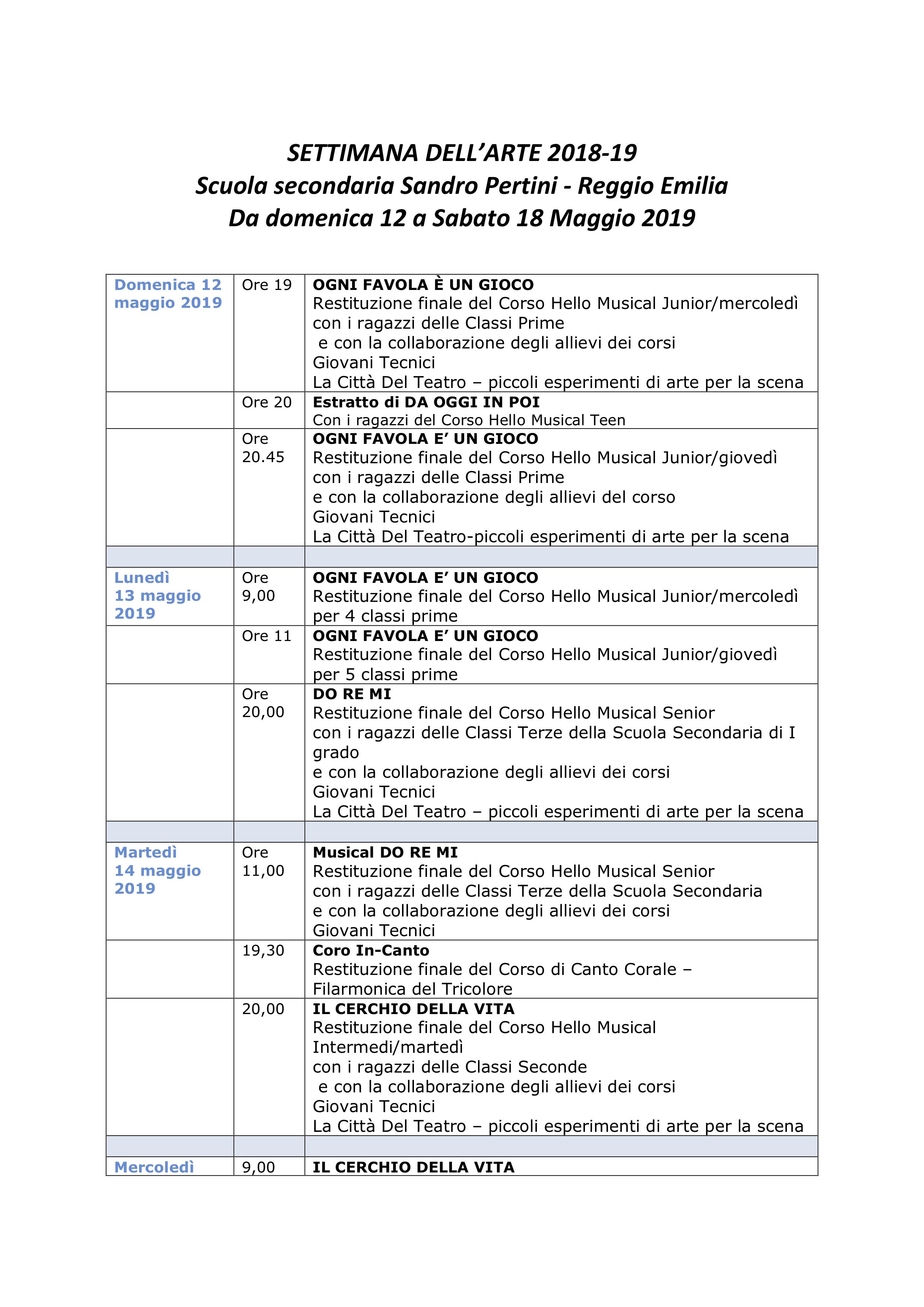 SETTIMANA DELL'ARTE 2018_2019 - Pag 1